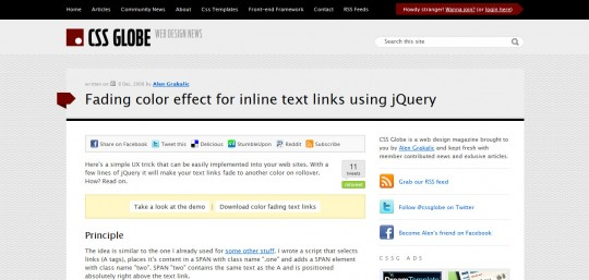 Fading color effect for inline text links using jQuery