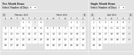Multiday Calendar Datepicker JQuery Plugin
