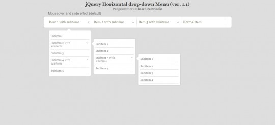 jQuery Horizontal Drop-Down Menu