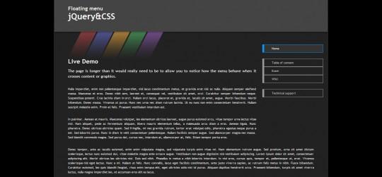 Floating menu jQuery&CSS