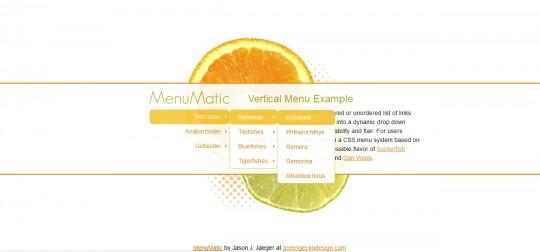 Menumatic Mootools