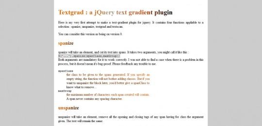Textgrad – A jQuery Text Gradient Plugin