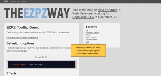 jQuery plugin EZPZ Tooltip