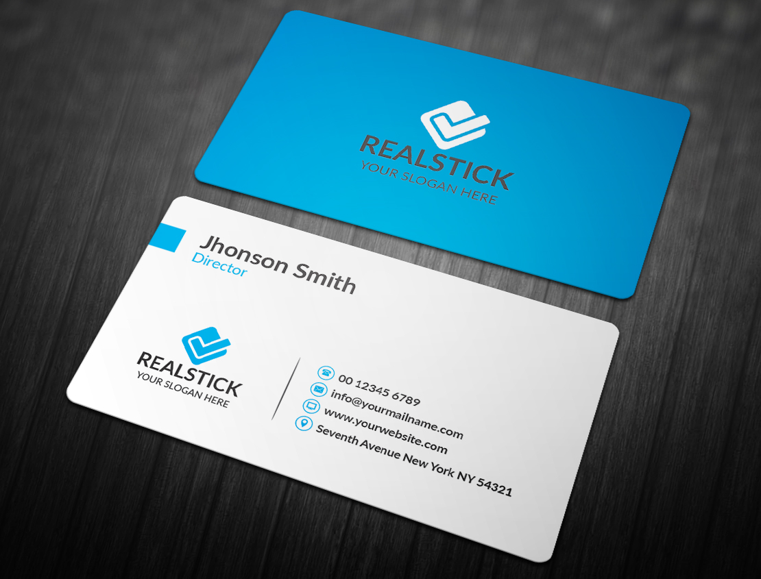 Blue Colored Business Cards