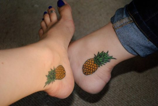 Amazing Pineapple Tattoo for Sisters
