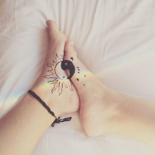 Beautiful Sister Tattoo Art on Foot