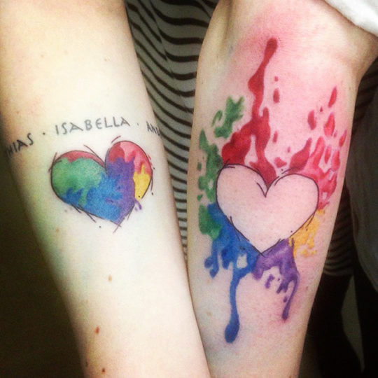 Heart Inspired Sister Tattoo in Water Color